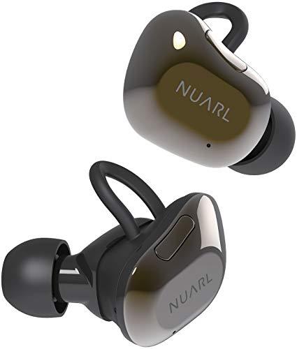 NUARL完全ワイヤレスイヤホンBluetooth5高音質HDSS採用IPX4防水最大再生時間35時間片側紛失サポート有マイク・リモコン付NT01AXブラックゴールド