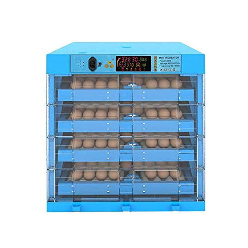 ZMXZMQ Incubator voor eieren, 64/128/192/256/320 eieren, incubatiemachine, transparant, eendenkip, intelligent, dubbele voeding, automatisch, blauw, 256 Eggs