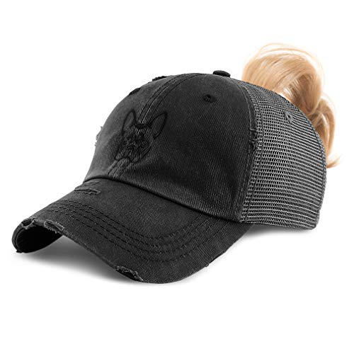 Womens Ponytail Cap French Bulldog Silhouette Embroidery Cotton Messy Bun Distressed Trucker Hats Strap Closure Black Design Only