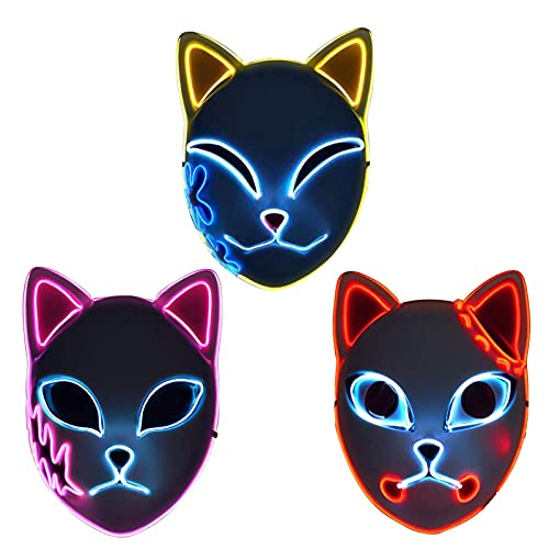 Primlisa LED Demon Slayer Cosplay Maske - Demon Slayer Japanische Maske Anime Fotografie Requisiten Spielzeug | Cosplay Maske Für Halloween Party Rolle Spiel | Kamado Tanjirou/Sabito/Makomo