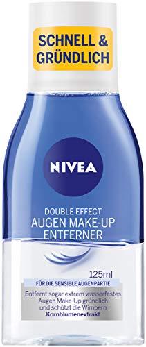 NIVEA Double Effect Augen Make-Up Entferner (125 ml), Gesichtsreinigung mit pflegender Formel und Wimpernschutz, Make-Up Entferner für extrem wasserfestes Make-Up
