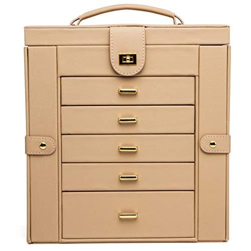Cajas para joyas Caja de joyería, joyería de imitación de cuero funcional organizador del caso de exhibición de almacenamiento, regalo for las chicas o caja de almacenamiento de gran capacidad mujeres