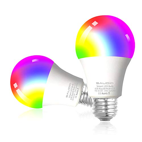 Smart Light Bulbs, SAUDIO Alexa Smart LED Bulbs, RGB Color Changing Smart Bulbs, Compatible with Alexa, Echo, Google Home & Siri, 2.4GHz WiFi Only, No Hub Required, 7W A19 E26 Multicolor 2-Pack