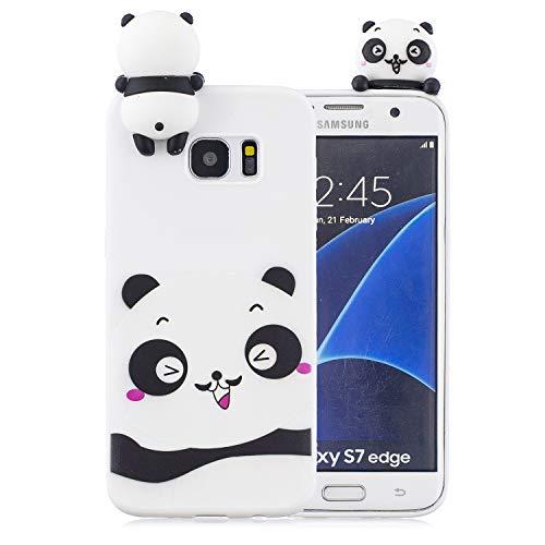 Ostop Kompatibel mit Samsung Galaxy S7 Edge Hülle,3D Süß Karikatur Tier Motiv Matt Weich Silikon Handyhülle Flexibel Gummi Gel Slim Dünn Schale für Samsung Galaxy S7 Edge,Weiß Panda