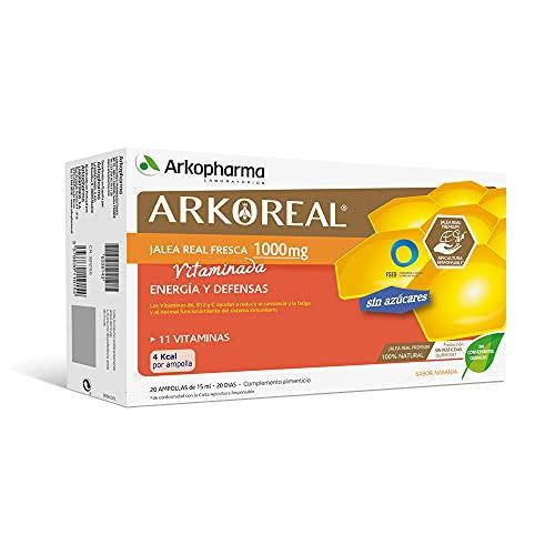 Arkopharma Arkoreal Jalea Real Vitaminada 1000mg Sin Azúcar 20 Ampollas, Refuerzo de Energía y Defensas, Jalea Real Premium, Complemento Alimenticio