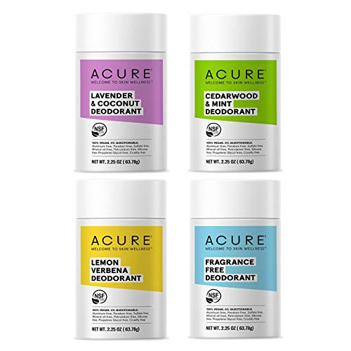 Acure Natural Deodorant, Variety Pack of 4 (LAVENDER & COCONUT DEODORANT,CEDARWOOD & MINT DEODORANT, LEMON VERBENA DEODORANT, FRAGRANCE FREE DEODORANT, 2.25 Oz)