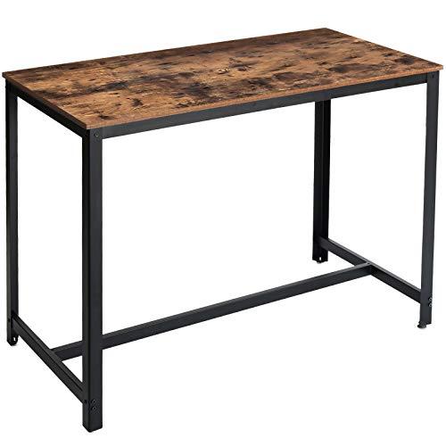 IBUYKE Table Haute de Bar 120x60x90.5 cm, Table à Manger, Cadre en métal, pour Boissons, Cocktails, Brasserie, Restaurant, Salon, Cuisine, Style Industriel TMJ013H-