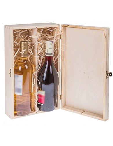 BARTU Weinflaschen Geschenkbox mit Deckel und Schloss für 2 Flaschen Wein