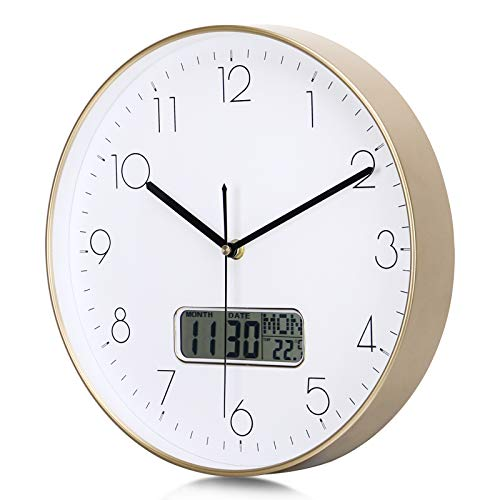 Lafocuse Reloj de Pared Calendario Dorado con Fecha y Termometro LCD Reloj Cuarzo Silencioso Modernos para Oficina Dormitorio Sala 30 cm