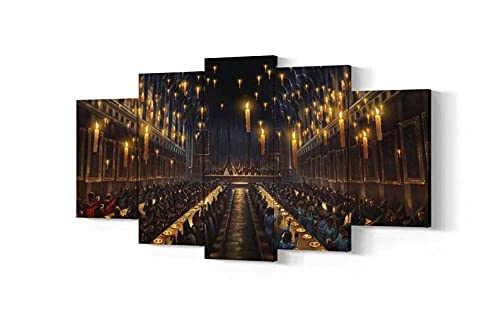 REGF Premium Canvas Printed Wall Art Poster Great Hall of Hogwarts HD Canvas Wall Art Paintings 5 Pieces,Modern Framed Wall Decorations Room Posters Artwork Gift for Family