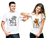 SHRENIM Unisex Poly Cotton White Couple Tom and Jerry Round Neck T-Shirt