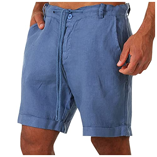 Men's Fashion Cotton Linen Lounge Shorts Casual Drawstring Shorts Soft Sleeping Short with Pockets Blue