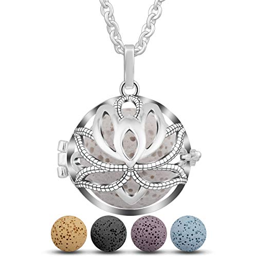 """EUDORA Harmony Ball Halsketten für Frauen Aromatherapie Kette Damen Anhänger Aroma Oel Diffuser Charme Schmuck Geschenk Natürlicher Lavastein Perlen Kette 5 PCS,30\"""""""