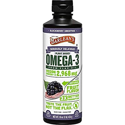 Barlean's Seriously Delicious Omega-3 from Fish Oil with 1080mg of EPA/DHA - All-Natural Fruit Flavor, Non GMO, Gluten Free - 8-Ounce Bottle