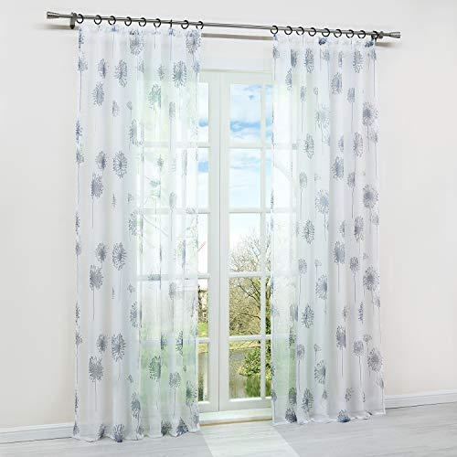 HongYa 1 Stück Transparenter Vorhang Voile Gardine Schal mit Kräuselband Fensterschal H/B 145/140 cm Pusteblumen Muster