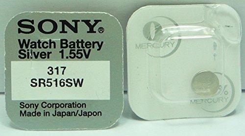Sony 317 SR516SW Lot de 10 piles pour montre à l'oxyde d'argent 0 % mercure