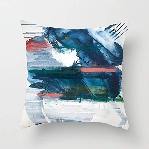 PPMP Pintura a Mano Abstracta, Funda de Almohada geométrica, Funda de Almohada para el hogar, sofá, Funda de Almohada Decorativa, Funda de cojín A26 45x45cm 2pcs