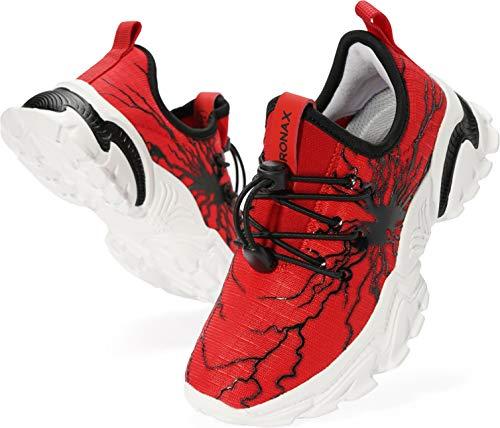 BRONAX Sportschuhe Jungen Mädchen Hallenschuhe Hausschuhe Kinder leichte Laufschuhe hallensportschuhe Schuhe Tennisschuhe Blinkschuhe Outdoor Rot 33 EU(34 Asien)