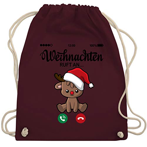 Shirtracer Weihnachten & Silvester - Weihnachten ruft an mit süßem Rentier - Unisize - Bordeauxrot WM110 - Turnbeutel und Stoffbeutel aus Baumwolle