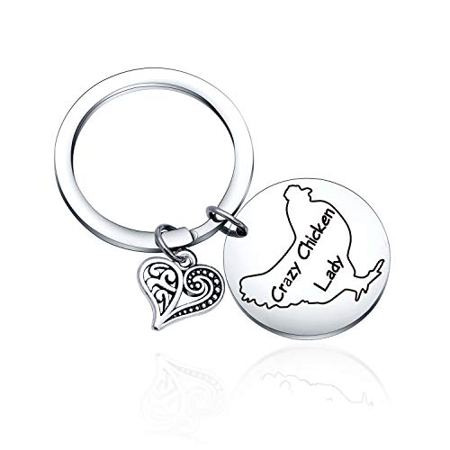 Chicken Farmer Lady gift for Chicken Lovers gift Chicken Lovers keychain Chicken Lovers jewelry Chicken Farmer gift Chicken Farmer keychain Chicken Lady Farm Gift Farm keychain Crazy Chicken keychain