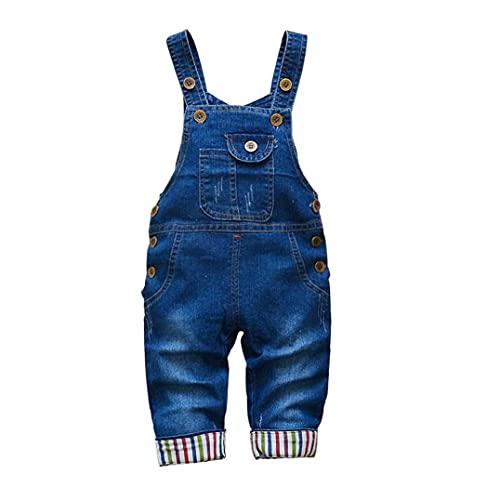 Berrywho Baby-Jeans Overalls Latzhose Denim Overall Mädchen Jungen Strampler Kleidung 80cm