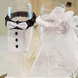 Motonupic 2 Pcs Cup Decor Bride Groom Tux Bridal Veil Wedding Party Toasting Wine Glasses Beautiful Home - Purple Home Decorations Party Black Decor Silver Bride Rose Decorat