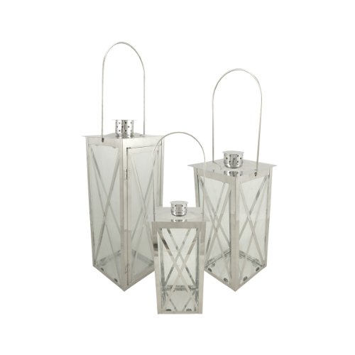 Christmas Central Set of 3 Silver Stainless Steel Finish Cottage Style Pillar Candle Holder Lanterns 18""