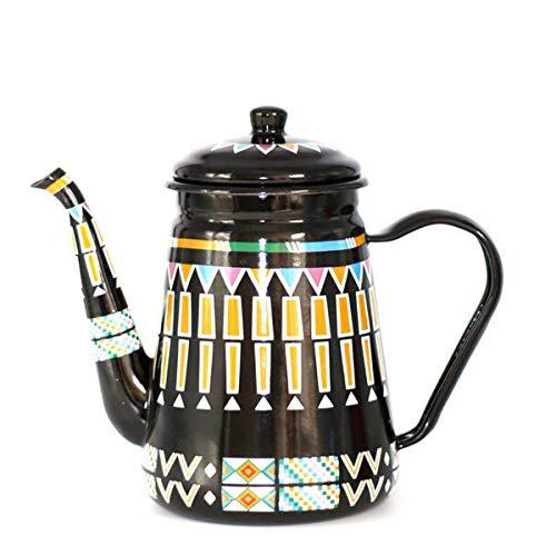 HLONGG Kaffeekanne, 1,1 l, Emaille-Teekanne, Nostalgie, Emaille, Kaffeekanne, Handteekessel, Induktionsherd, Gasherd, universell, grau