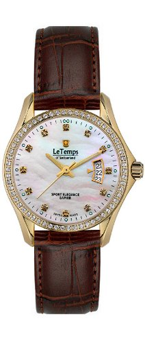 Le Temps of Switzerland 405111 dameshorloge, leren band bruin