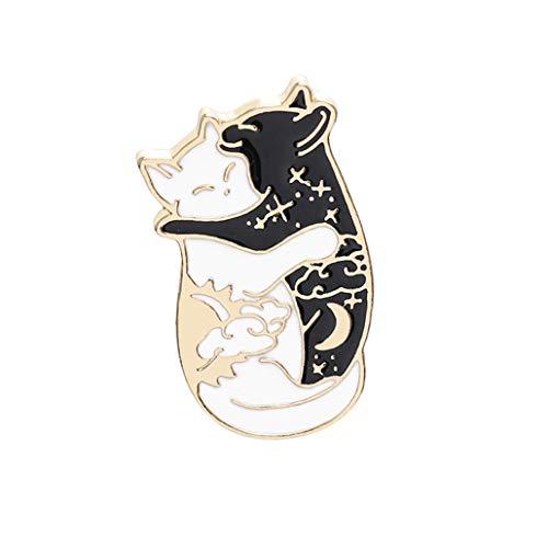 NYAOLE Noir et Blanc Chat Broche épinglette drôle Jean Manteau Sac à Dos Badge Bijoux pour garçon Fille Charmant Cadeau