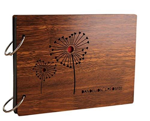 Fotoalben Scrapbook DIY Fotoalbum Bilderalbum Vintage Style Sticker Tagebuch aus Holz Geburtstaggeschenk 8 Zoll (Löwenzahn)