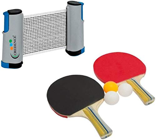 Credence Hi-Quality Retractable Table Tennis Net with Table Tennis Racket and Balls Table Tennis Kit