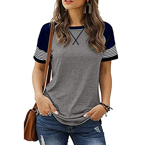Camiseta Casual De Manga Corta De Manga Corta Descolorida con Costura Nueva para Mujer Casual