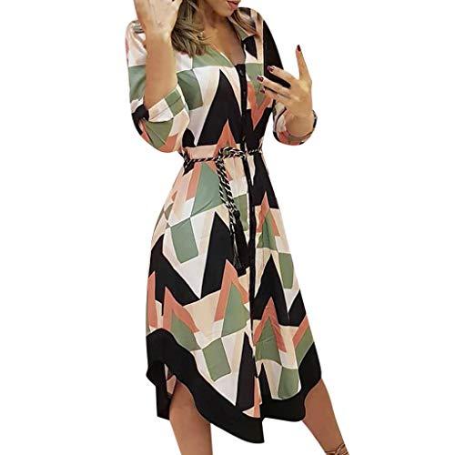 Fcostume Sommerkleid Damen Kurzarm Elegant V-Ausschnitt Kleider Knopfleiste Blusenkleid Kurze Freizeitkleider mi Gürtel