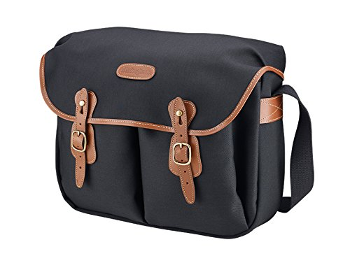 Billingham Hadley Large - Bolsa fotográfica de Lona Negra con Bordes de Cuero Tostado