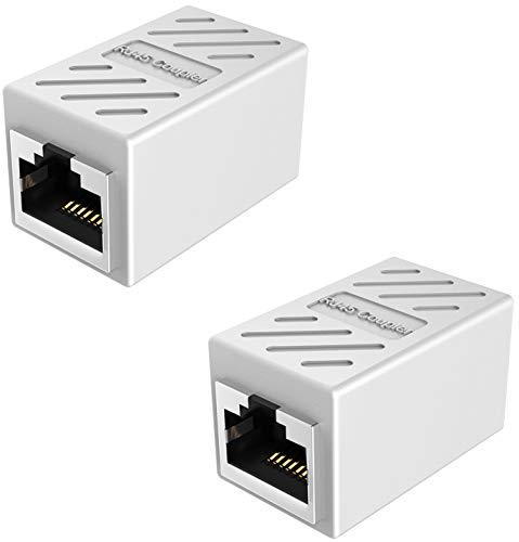 RJ45 Ethernet Kabel Verbinder, ethernet Koppler LAN Adapter für LAN Kabel, RJ45 Coupler,Netzwerkkabel, Patchkabel, Ethernet Kabel,Internet Kabel,kompatibel mit Cat7 Cat6 Cat5 Cat5e (Weiß - 2 Stücke)