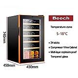 Wine Cooler - Vino Frigorífico, 70L, 2 zonas de enfriamiento programables, 24 botellas de vino, 5-18 deg; C, autoportante temperatura ajustable del refrigerador de vino (Color: Haya) QIANGQIANG