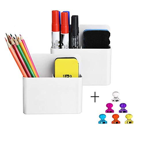 Magnetic Dry Erase Marker Holder Pen and Eraser Holder for Whiteboard Magnet Pencil Cup Utility Storage Organizer for Office Refrigerator Locker and Metal Cabinets 2 Pack