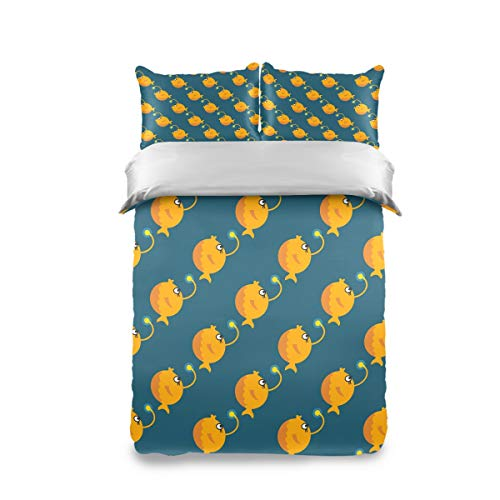 YUMINyyy Soft Comfortable 3 Piece Home Bedding Sets Cartoon Angler Fish hd Printed 1 Duvet Cover & 2 Pillow Case, Suitable for Teen Boys and Girls, Double Bed Comforter Covers with Zipper Closure