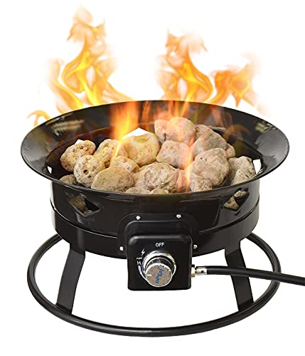 Flame King Outdoor Portable Propane Gas 19' Fire Pit Bowl with Self...