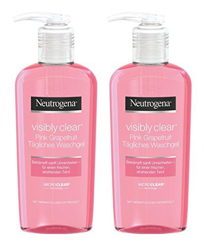 Neutrogena Visibly Clear Pink Grapefruit Tägliches Waschgel – Erfrischendes Reinigungsgel gegen Hautunreinheiten und Pickel im Gesicht mit Grapefruit Duft – 2 x 200ml