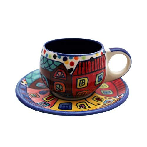 Gall&Zick 4X Espressotasse mit Untertasse Mokkatasse Untersetzer Unterteller Tasse Kaffeetasse Teetasse Geschirr Set Keramik Bemalt Bunt Stadt Muster