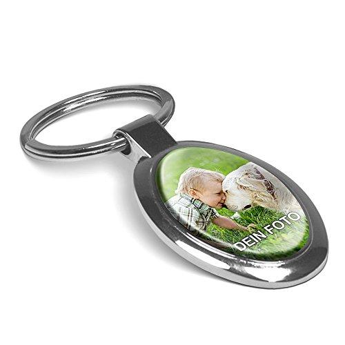 PhotoFancy® - Schlüsselanhänger mit Foto bedrucken lassen - Chrom-Anhänger mit eigenem Bild personalisieren (Schlüsselanhänger Oval)