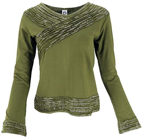 GURU SHOP Camiseta de manga larga elegante para mujer, algodón, jersey, manga larga y sudaderas alternativas verde oliva L