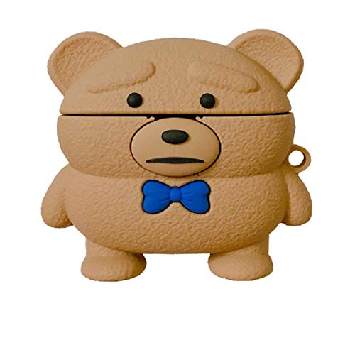 AirPods Pro Case Cover, Funny Fashion Fun Cool Keychain Design Stylish Kits Soft Skin Shell Cases Boys Teens Kids Girls for Airpods Pro/3 (Teddy Bear)