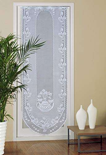 Voile French Door Curtains - Set of 2 Panels Lace Sidelights Curtains - Elegant Vintage Drapes Blind Transparent Sheer Curtain for Glass Patio Front Door, White, 24 X 72 Inchs