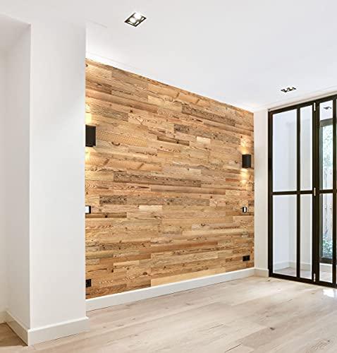Wooden Wall Design Modèle « Amber » Panneaux muraux en bois recyclé 1m2