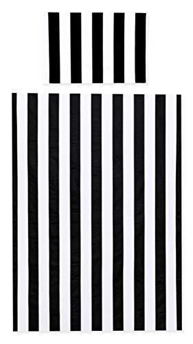 Amilian Baby Bettwäsche Bettset Kinderbettwäsche Deckenbezug 100 x 135 cm Kissenbezug 40x60 cm für Babybett 100{53661eb437fa6476c2ce8648a33078fffe7dd7e7bf4479546d96d60a2c54e709} Baumwolle mit Reißverschluss Muster Streifen Schwarz