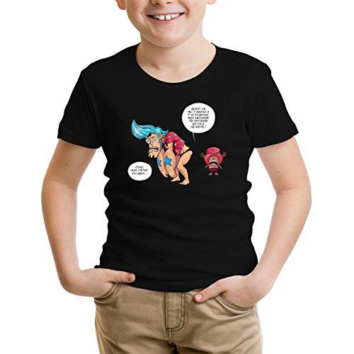 T-Shirt Enfant Noir One Piece parodique Chopper et Franky : Panne sèche ! (Parodie One Piece)