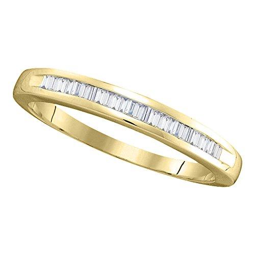 Jewels By Lux Anillo de Diamantes Baguette de Oro Amarillo de 14 KT para Mujeres 11